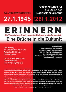 Flugblatt: »Erinnern – eine Brücke in die Zukunft. KZ Auschwitz befreit 27.1.1945…«.