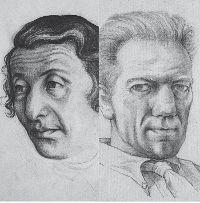 Zeichnung: Doppelporträt Lya und Hanns Kralik.