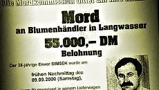 Plakatausschnitt: »Mord an Blumenhändler in Langwasser. 55.000 DM Belohnung…« und Porträt.