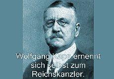 Porträt mit Aufschrift: Wolfgang Kapp ernennt sich selbst zum Reichskanzler.